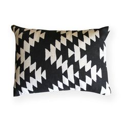 Black and White Aztec Design Decorative Throw Pillow by NestaHome