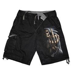 Bone Finger, vintage gothic fantasy metal skelet shorts zwart