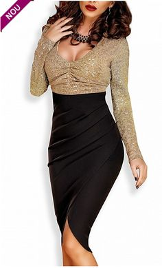 Cheap bodycon dress, Buy Quality midi dress directly from China winter dress Suppliers: La Chilly 2017 V-Neck sexy party Bodycon dress High Low winter dress Vestidos Sequin Long Sleeve Tulip Wrap Midi Dress
