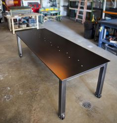 Vintage Furniture 'Natural Black Steel Table - This hand-made steel table has a steel top, square base, 4 castors, and a countersunk stainless steel hex drive. Steel Furniture, Industrial Furniture, Vintage Furniture, Industrial Design, Furniture Ideas, Welding Table Diy, Diy Table, Welding Cart, Metal Welding
