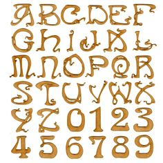 Laser cut MDF wood alphabet letters and numbers in Art Nouveau Font - ideal for Art Deco, vintage and classic themed projects. Various sizes available. Art Nouveau Font, Design Art Nouveau, Alphabet Art, Letter Art, Calligraphy Alphabet, Typography Alphabet, Spanish Alphabet, Preschool Alphabet, Letter Tracing