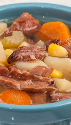 Ham Potato Vegetable Soup (Crockpot) - This is one of the best dinner ideas for the ham bone. Savory, sweet, and a meal-in-one!