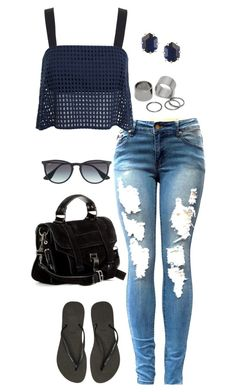 """""""Untitled #3105"""" by meandelstyle ❤ liked on Polyvore featuring 3.1 Phillip Lim, Havaianas, Proenza Schouler, Ray-Ban, Pieces and Kendra Scott"""