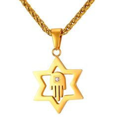 AlphaMan Star of David With Hamsa Hand Unisex Gold Color Stainless Steel Necklace