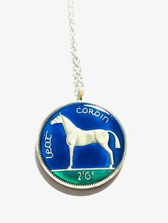 Coin Pendant, Pendant Necklace, Hunter Horse, Mail Sign, Harp, Stainless Steel Chain, Turquoise Necklace, Ireland, Jewelry Box