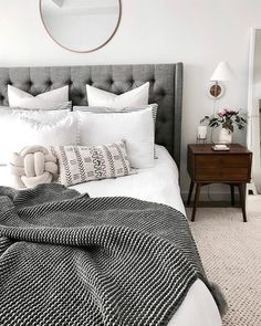 9,376 Followers, 5,120 Following, 1,714 Posts - See Instagram photos and videos from Samantha Dempster (@thefamjewels) Master Bedroom Grey, Neutral Bedroom Decor, White Comforter Bedroom, Neutral Colored Bedroom, Bedroom Inspo Grey, Masculine Master Bedroom, Dark Bedding, White Gray Bedroom, Grey Bedrooms