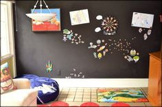 If you want to try using magnetic paint yourself, here are a few things I learned the hard way.link to magically magnetic paint product Magnetic Paint, Magnetic Chalkboard, Magnetic Boards, Diy Magnets, Toy Rooms, Kids Rooms, Paint Cans, Diy For Kids, Paint Colors