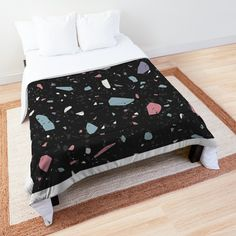 'Terrazzo Stone Pattern (Dark Color Pop)' Comforter by NeptuneDesigns College Dorm Rooms, Square Quilt, Terrazzo, Dark Colors, Quilt Patterns, Color Pop, Comforters, Duvet Covers, Toddler Bed