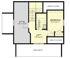 Swing bathroom to be right above downstairs bath. Put in wall in line with kitchen bump-out, turn attic storage space into walk in closet. Finish rest of attic space, turn entire upstairs into master suite. Small Log Home Plans, Small Cottage House Plans, 2 Bedroom House Plans, Small Cottage Homes, Small House Floor Plans, Lake House Plans, Cottage Plan, Small Homes, Garage Plans With Loft
