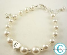 Cross Charm Pearl Bracelet for Girls, Baby and Toddler. Great for Baptism, Christening, new baby shower gift, Frist communion.