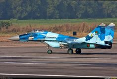 Three-tone colour scheme MIG29 Bangladesh - Air Force 36100 aircraft at Dhaka - Hazrat Shahjala Int