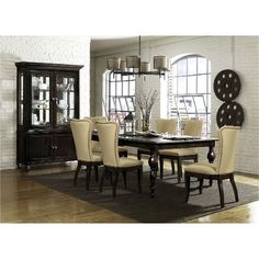 5 Piece Dining Set - Contemporary Tessy Dark Oak