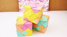 Große Origami Würfel aus 24 Elementen | Sonobe Origami Cube | Modulares ... Origami Cube, Oragami, Paper Folding, Paper Goods, Gift Wrapping, Toys, Projects, Youtube, Handmade