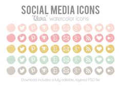 """Watercolor Social Media Icons - Blog Website Buttons - """"Olivia"""" Icons for Blog and Website Design"""