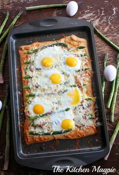 My newest obsession. Asparagus, capicollo  eggs breakfast pizza. So. Darn, Delicious   The Kitchen Magpie
