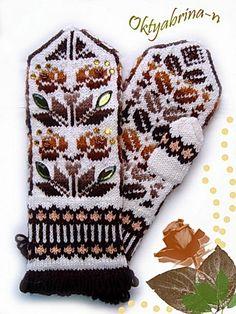 Mittens Pattern, Knit Mittens, Knitted Gloves, Knitting Socks, Hand Knitting, Knit Crochet, Crochet Hats, Vintage Cross Stitches, Fair Isle Knitting