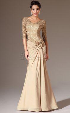 Gold V Neck Long Chiffon and Lace Mermaid Bridesmaid Dress with Half Sleeve JT-CA1379