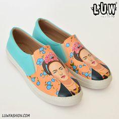 KAHLO  Frida Kahlo shoes art shoes custom art by LUWfashion