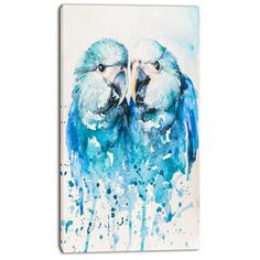 DesignArt 'Spix's Macaw Watercolor' Painting Print on Wrapped Canvas Size: