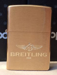Zippo Brushed Brass Finish Breitling Logo Lighter