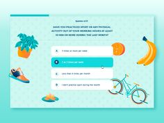 Survey UI/UX design. The elements behind are moving with parallax.  As always, feedback is super welcome! Check  attachment to see full size pixels and if you like...show your love to me :)  Soundt...