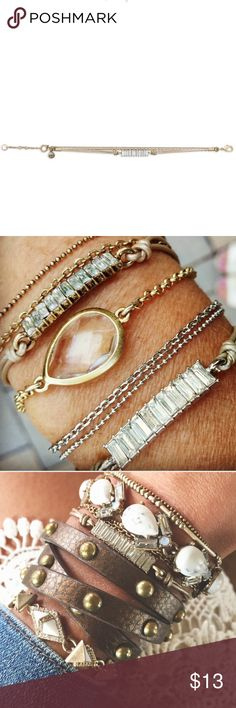 Leather & Baguette Bracelet New. Used for display. Perfect bracelet to pair with others to create an arm candy!   Great item to grab in a bundle. Please ask all questions before purchasing. Chloe + Isabel Jewelry Bracelets