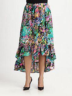 Floral Silk Hi-Lo Skirt, Size 1X-3X