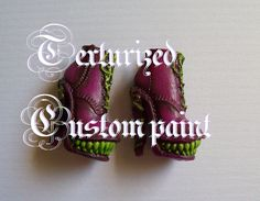 Texturized custom painting of Monster High or Barbie shoes + accessories
