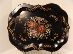 """Antique TOLEWARE Artist Signed Floral Hand PAINTED Tole Tray Flowers 24""""x18"""""""