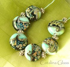 Copper Green and Raku  by Catalina Glass by catalinaglass on Etsy, $35.00