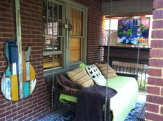 Photo Gallery - Artwork by Ridley Stallings Reclaimed Wood Art, Guitar Art, Wooden Walls, Wall Sculptures, Porch Swing, Wood Wall Art, Outdoor Furniture, Outdoor Decor, Old Houses