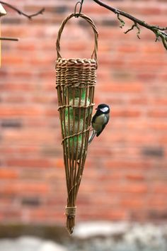 Woven willow fat ball bird feeder; project included in book: Willow Craft 10 Simple Projects