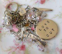 Hairstylist/hairdresser initial keychain/bag charm, hand stamped, by romanticcrafts, $24.00