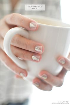 DIY Idea: Golden Triangles Nail Art - Creature Comforts