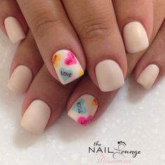 Valentines day candy hearts gel nail art design @the_Nail_lounge_miramar