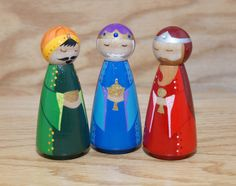 Nativity Peg Dolls van HethrFethr op Etsy