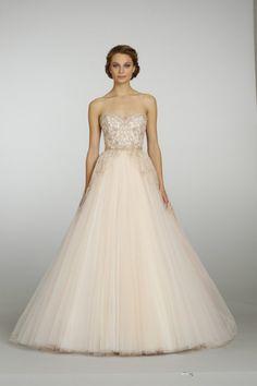 Vestido de novia estilo princesa en color durazno - Foto JLM Couture