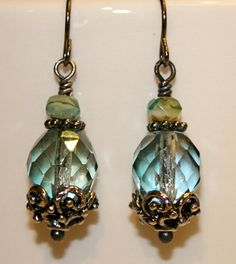 Prairie Green and Malibu Bits picasso czech glass earring, bridesmaid earrings, Blue green earrings Wire Wrapped Jewelry, Wire Jewelry, Boho Jewelry, Jewelry Crafts, Beaded Jewelry, Jewelery, Jewelry Design, Green Earrings, Glass Earrings