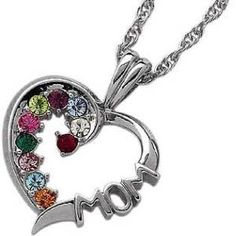 Sterling Silver MOM Birthstone Necklace - 15956 | Limoges Jewelry