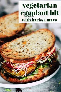 Vegan Lunch: This Crispy Eggplant BLT is one of my favorite sandwiches to make for a quick and easy lunch or dinner. Harissa mayo adds a little spicy kick! This vegetarian eggplant recipe includes a vegan option (just use flax eggs and vegan mayo! Vegetarian Eggplant Recipes, Vegan Vegetarian, Vegetarian Dinner For One, Easy Eggplant Recipes, Easy Vegetarian Dinner Recipes, Plant Based Dinner Recipes, Healthy Vegetarian Recipes, Easy Vegetarian Lunch, Vegan Lunches
