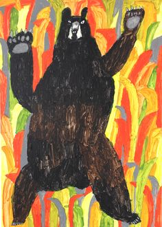 "Artwork by Miroco Machiko. Repinned by Elizabeth VanBuskirk, incas.org, author of ""Beyond the Stones of Machu Picchu: Folk Tales and Stories of Inca Life."" See the story ""The Bear Prince and paint your own great Andean bear."