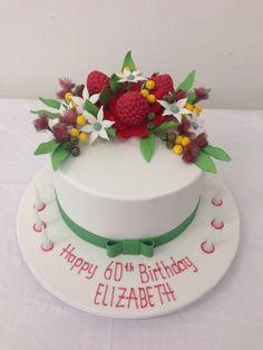 Beautiful australian native flowers cake by handi's cakes Fondant Flowers, Sugar Flowers, Australian Native Flowers, Dog Cakes, Fondant Icing, Cake Makers, Bake Sale, Creative Cakes, Gum Paste