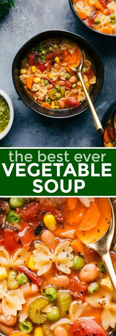 """The BEST Vegetable Soup EVER! This soup is loaded with tons of veggies, miniature pasta noodles, and a """"secret"""" ingredient that add loads of flavor! This healthy soup can be made in one pot in about 30 minutes or less. Recipe via chelseasmessyapron Best Vegetable Soup Recipe, Vegetable Soup Crock Pot, Veggie Soup Recipes, Homemade Vegetable Soups, Vegetable Soup Healthy, Vegetable Soup With Chicken, Easy Soup Recipes, Healthy Vegetables, Homemade Soup"""