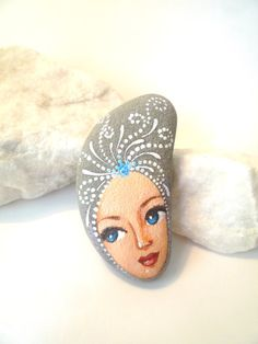 Painted stone original handmade painting on stone by sabiesabi,