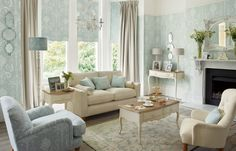 Laura Ashley Josette Duck Egg Like how light this room is & layout