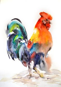 Rooster Painting Original Watercolor Painting by CanotStop on Etsy