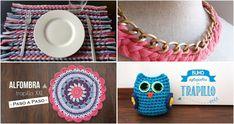 ¿Tienes varios ovillos de trapillo en casa o viejas prendas con las que hacerlo tú mismo? ¡Mira qué de tutoriales puedes llevar a cabo! Alfombras, bolsos, cestas... Crochet Necklace, Knitting, Sewing, How To Make, Crafts, Jewelry, Fashion, Gifs, Home