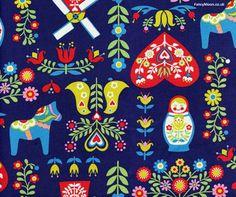 Folk Toys Russian Doll Blue, Trefle, Kokka Children's Fabric so cute Textile Patterns, Textiles, Stencil Patterns, Fancy, Russian Folk Art, Scandinavian Folk Art, Matryoshka Doll, Illustrations, Embroidery Applique