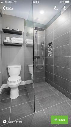 25 Awesome Farmhouse Bathroom Tile Shower Ideas (Walk In Shower Room Floor & Wal. 25 Awesome Farmhouse Bathroom Tile Shower Ideas (Walk In Shower Room Floor & Walls) ideas grey Small Grey Bathrooms, Modern Bathroom Design, Bathroom Interior Design, Tile For Small Bathroom, Minimalist Small Bathrooms, Minimalist Bathroom Design, Bathroom Design Layout, Small Tiles, Simple Bathroom