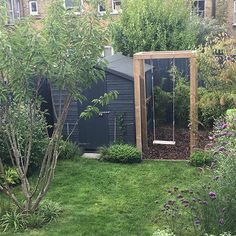 This small urban family garden was transformed to include a nature based play area with swing, a comfortable seating area and a wildlife conscious, easy to look after planting scheme with multistem trees and plenty of pollinator friendly planting. Back Gardens, Small Gardens, Outdoor Gardens, Play Area Garden, Garden Spaces, Easy Small Garden Ideas, Small Garden Play Area Ideas, Narrow Garden, Garden Makeover
